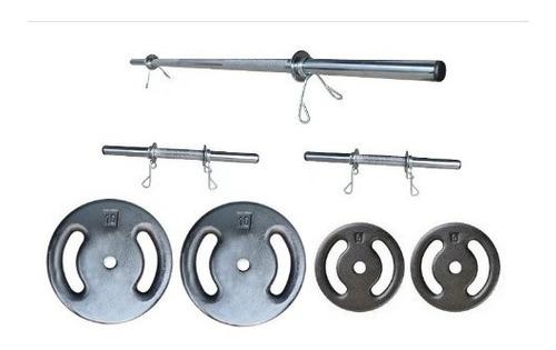 Kit Anilhas 30kg Sendo 2 Barras De 40cm + 1 De 1.20 Cromadas