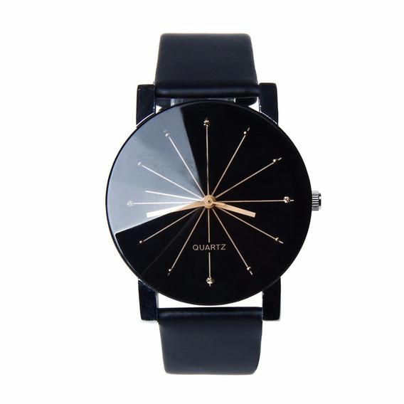 Relógio Preto Pulseira Em Couro Pu Mostrador Vidro P/entrega