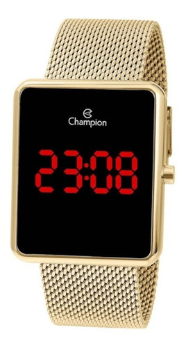 Relógio Feminino Champion Digital Quadrado Dourado Original
