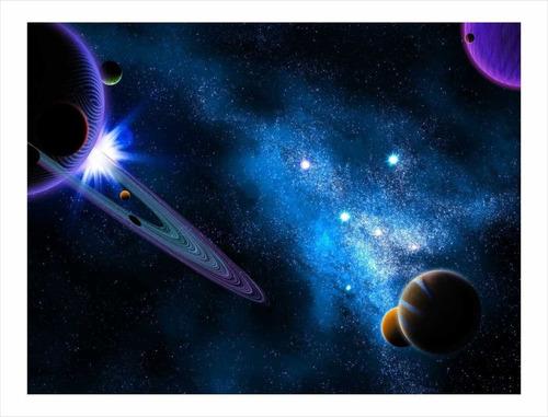 Imagem 1 de 4 de Adesivo Papel De Parede Planetas Sol Saturno Mercúrio 8m²