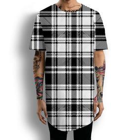 9992880c7 Camiseta Oversized Longline Quadriculada Xadrez Pb Tumblr