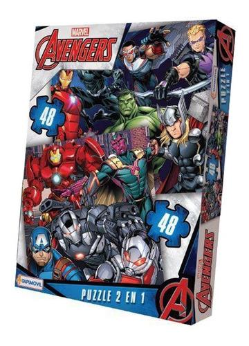 Imagen 1 de 4 de Rompecabezas Puzzle 2 De 48 Piezas Avengers Superheroes Edu