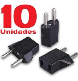 10 Adaptador Tomada Americano 2 Pinos Chatos X Brasileiro