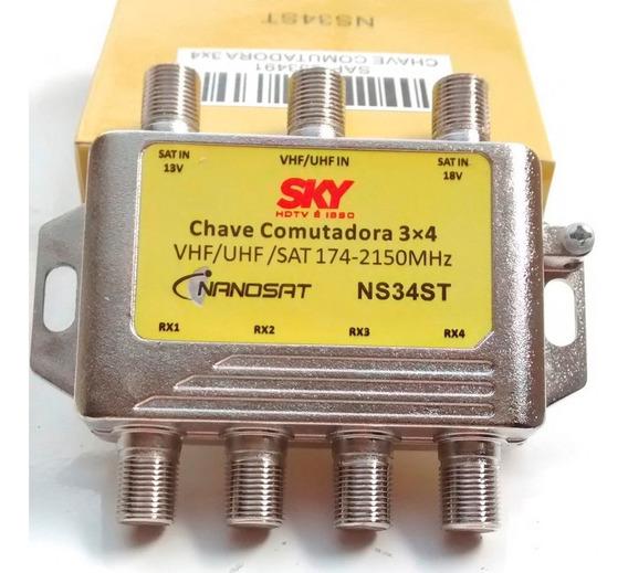Chave Comutadora 3x4 Sky Deco Antena Frete Carta Registrada
