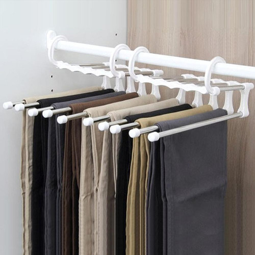 EDATOFLY 4 Piezas Perchas Pantalones Multifunci/ón Ahorra Espacio S Tipo Percha Antideslizantes Acero Inoxidable 5 Capas para Pantalones Toalla Bufanda Corbata Cintur/ón