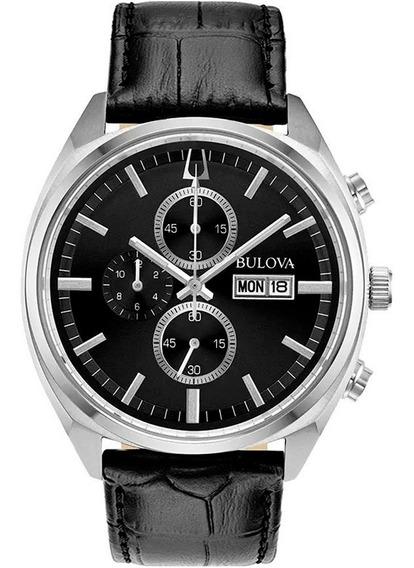 Relógio Bulova Masculino Cronógrafo 96c133 Aço Couro Pret