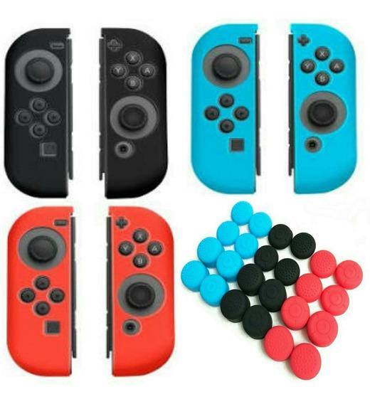 8 Unidades Grips+ Capa Controle Joy Con Case Nintendo Switch