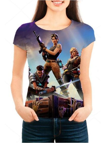 Camiseta Babylook Feminina Game Fortnite - Promoção