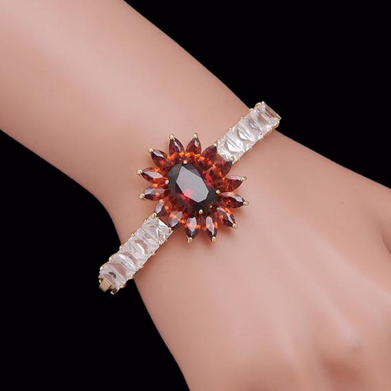 Bracelete Feminino Ouro 18k Folheado Flor Pedra Cristal C153