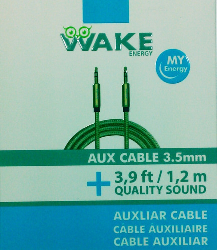 Cable Audio Auxiliar Wake 3.5 A 3.5 - 1,2 Mts Dorado Tienda