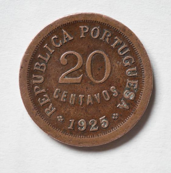 Moneda Antigua República Portugal 1925 20 Cvs