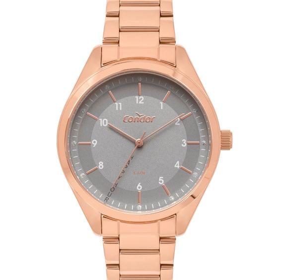Relógio Feminino Rose Condor De Pulso Pulseira Metálica Nfe