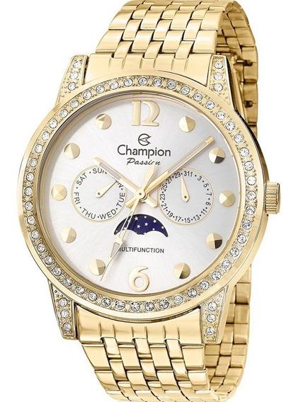 Relógio Feminino Champion Ch38379h Multifunção Dourado