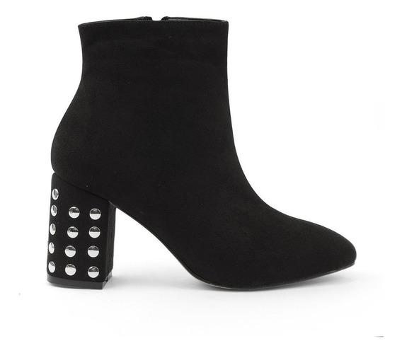 Zapatos Botines Dama Estoperoles Negros Elegantes 8333