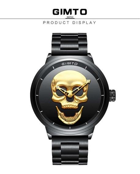 Relógio Caveira 3 D Gimto , Preto/dourado Pulseira Em Aço