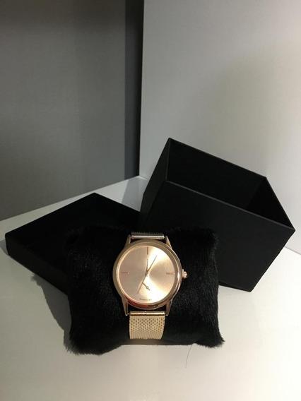 Relógio Branco E Rose Feminino + Caixa Presente