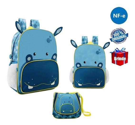 Kit Mochila Escolar Infantil Hipopotamo Original G + Brinde