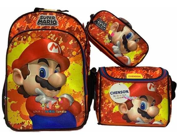 Mario Bros Kit Mochila 3d O 6d Prim Lonche Y Lapice 2019-20