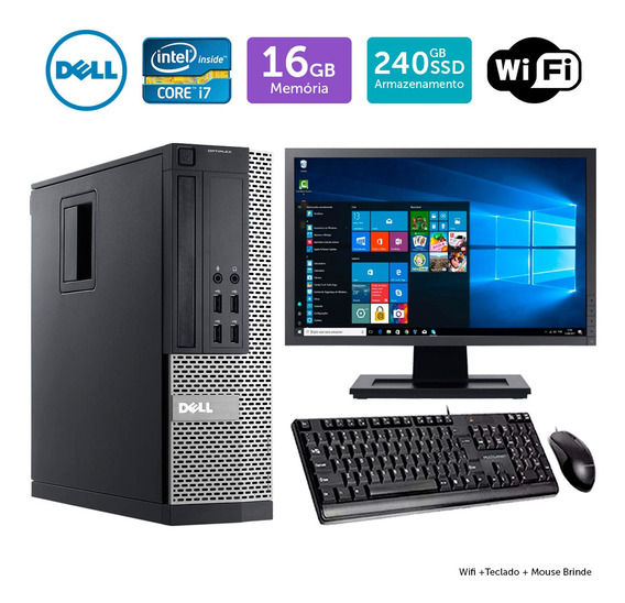 Desktop Barato Dell Optiplex 7020sff I7 16gb Ssd240 Mon19w