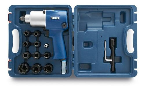 Imagen 1 de 9 de Llave Pistola Impacto Neumatica Bremen 1/2 760nm Kit Industrial Doble Martillo Cod. 7132 Dgm