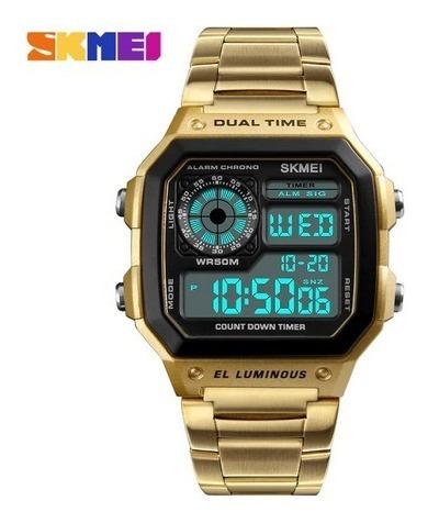 Relógio Masc Skmei 1335 Digital Pulseira Aço Dourado 12x S/j