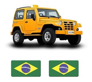 Emblema Adesivo Bandeira Do Brasil Resinada Para Troller Par