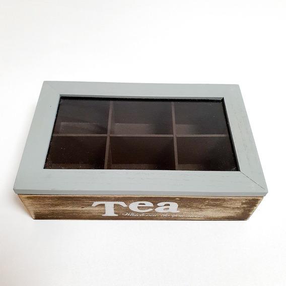 Caja De Te De Madera Rustica Organizador De Saquitos X 6