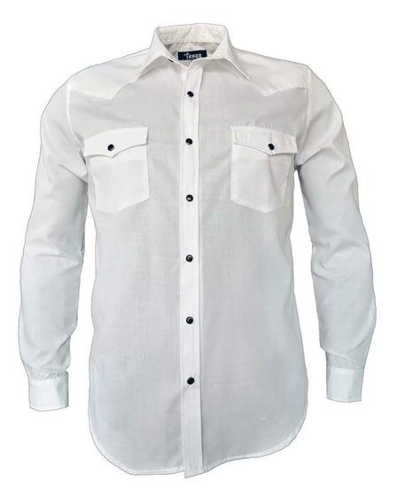Camisa Vaquera Manga Larga Blanca Para Hombre