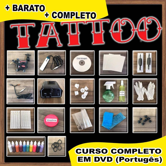 Kit Tattoo Completo Máquina Profissional Tatuagem Dvd Curso