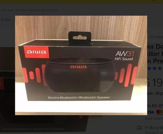 Caixa De Som Bluetooth Auxiliar Bateria Aiwa Aw-31fm Preto