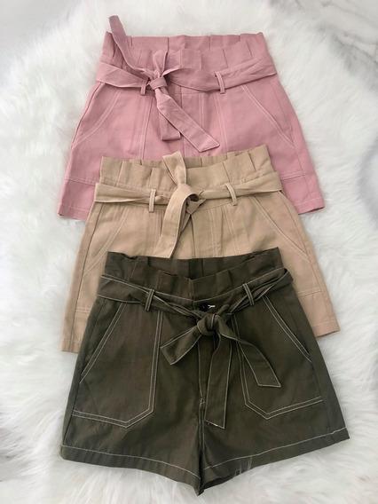 Shorts Linho Clochard Cinto Curto Verde Militar Rose Nude