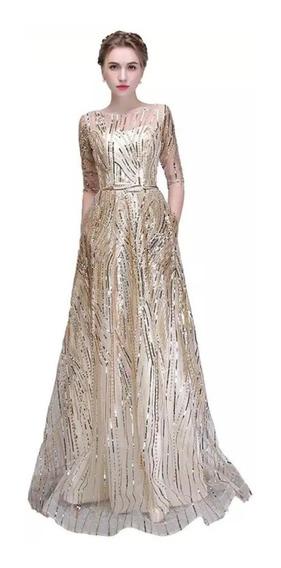 Vestido Fiesta Dorado Talla Extra Envio Gratis E-180308001