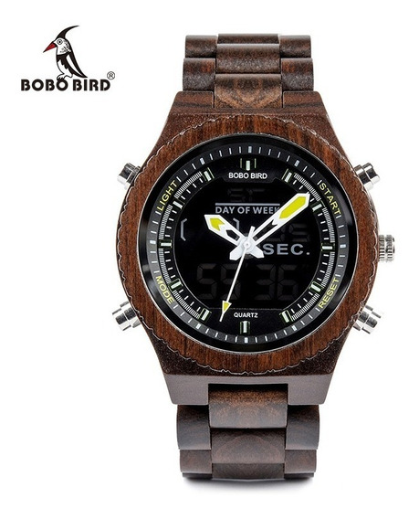 Relógio Unissex Madeira Analógico E Digital Bobo Bird P02