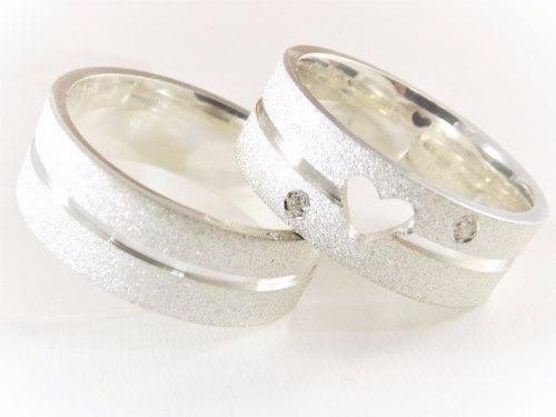 Aliança De Compromisso Namoro 7mm Diamantada Coração Vazado