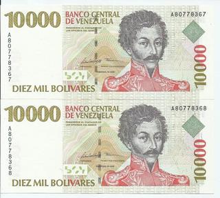 Dos Excelentes Billetes 10000 Bolívares. Febrero 10 1998.