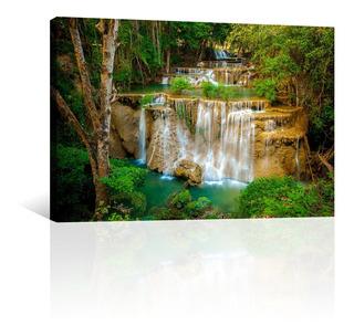 Cuadro Decorativo Naturaleza Canvas Cascada Piedras Verdes
