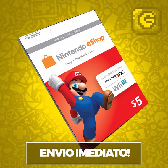 Cartão Nintendo Switch 3ds Wii U Eshop Card Usa $5 Dólares