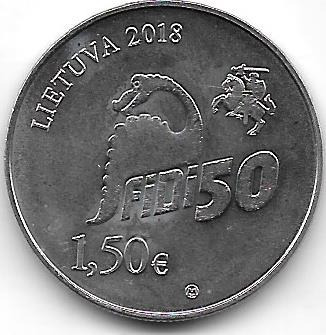 Moneda Lituania 1,50 Euro Año 2018 Animales Prehistoricos
