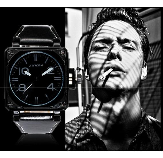 Relógio Masculino Quadrado Pulseira Couro C/ Estojo Promoção