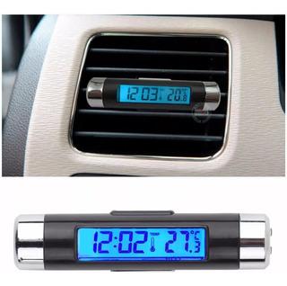 Termômetro Relógio Digital Automotivo Lcd Clipe Azul Led