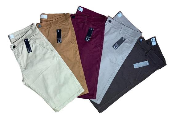 Kit 5 Bermudas Masculina Jeans Sarja Com Lycra Elastano