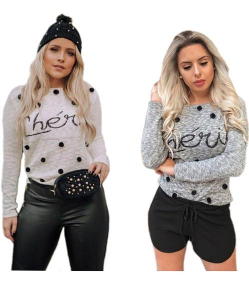Blusa De Tricot Cherie C/pompom Moda Blogueiras Inverno