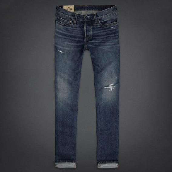 Hollister Remate Jeans Entalle Recto Slim, Nuevos Originales