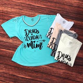 Tshirt Bordada A Mão Evangélica Gospel Deus Cuida De Mim