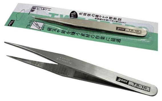 20un Pinça Anti-estatica Gooi Ts-10 - Reta Extra Fina 115mm