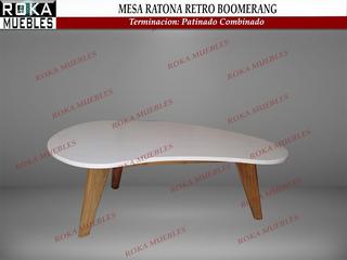 Mesa Ratona Escandinava Boomerang Retro Patinado Combinado