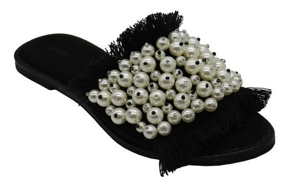 Zapatos Sandalias Bajas Mujer Dama Perlas Negro Leblu Z143