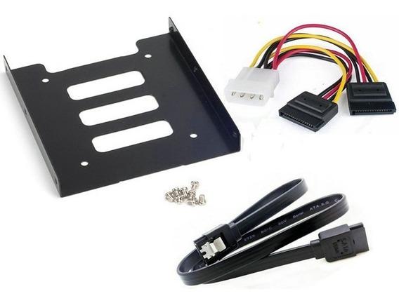 Kit Adaptador Suporte Ssd Hd 2,5 Para 3,5 + Sata + Energia