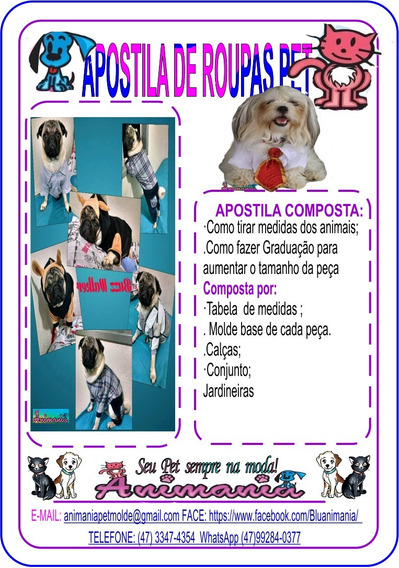 4 Apostilas De Roupas Para Pets Contendo 12molde De Roupas