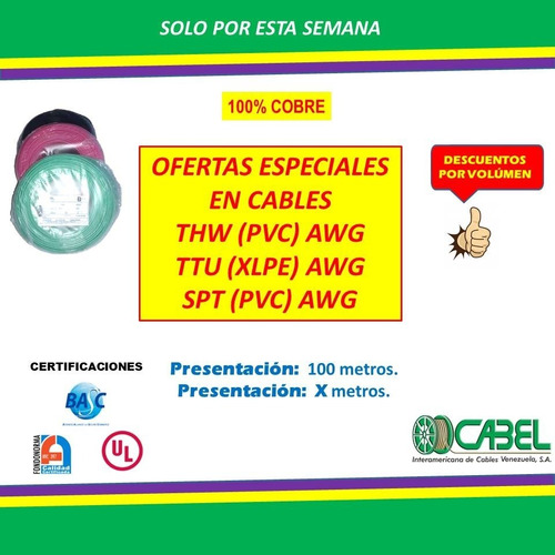 Cable Electrico 12 Thw Rollo Marca Cabel
